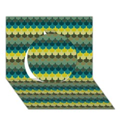 Scallop Pattern Repeat In  new York  Teal, Mustard, Grey And Moss Circle 3d Greeting Card (7x5)  by PaperandFrill