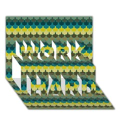 Scallop Pattern Repeat In  new York  Teal, Mustard, Grey And Moss Work Hard 3d Greeting Card (7x5)  by PaperandFrill