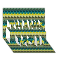 Scallop Pattern Repeat In  new York  Teal, Mustard, Grey And Moss Thank You 3d Greeting Card (7x5)  by PaperandFrill