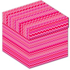 Valentine Pink And Red Wavy Chevron Zigzag Pattern Storage Stool 12   by PaperandFrill