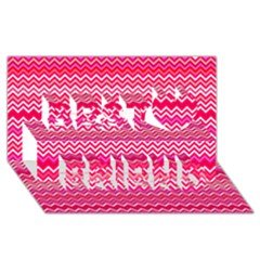 Valentine Pink And Red Wavy Chevron Zigzag Pattern Best Friends 3d Greeting Card (8x4)