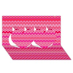 Valentine Pink And Red Wavy Chevron Zigzag Pattern Twin Hearts 3d Greeting Card (8x4)  by PaperandFrill
