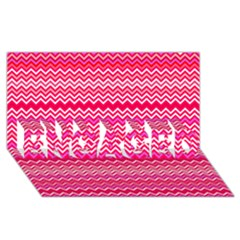 Valentine Pink And Red Wavy Chevron Zigzag Pattern Engaged 3d Greeting Card (8x4)  by PaperandFrill