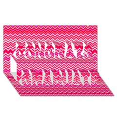 Valentine Pink And Red Wavy Chevron Zigzag Pattern Congrats Graduate 3d Greeting Card (8x4)  by PaperandFrill