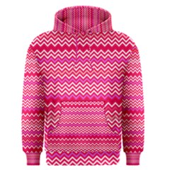 Valentine Pink And Red Wavy Chevron Zigzag Pattern Men s Pullover Hoodies by PaperandFrill