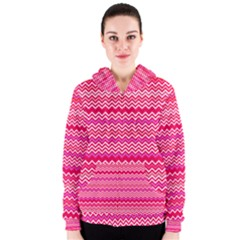 Valentine Pink And Red Wavy Chevron Zigzag Pattern Women s Zipper Hoodies by PaperandFrill