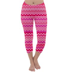 Valentine Pink And Red Wavy Chevron Zigzag Pattern Capri Winter Leggings  by PaperandFrill