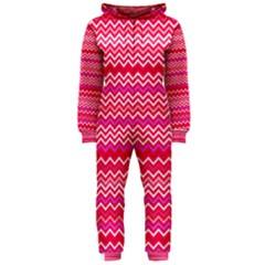 Valentine Pink And Red Wavy Chevron Zigzag Pattern Hooded Jumpsuit (ladies)