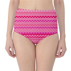 Valentine Pink And Red Wavy Chevron Zigzag Pattern High Waist Bikini Bottoms by PaperandFrill