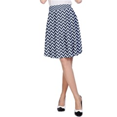 Blue And White Chevron Wavy Zigzag Stripes A-line Skirt by PaperandFrill