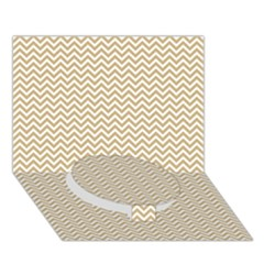 Gold And White Chevron Wavy Zigzag Stripes Circle Bottom 3d Greeting Card (7x5)