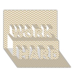 Gold And White Chevron Wavy Zigzag Stripes Work Hard 3d Greeting Card (7x5)
