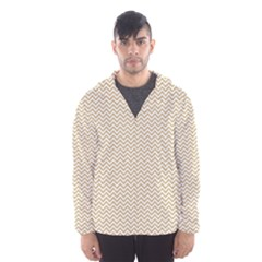 Gold And White Chevron Wavy Zigzag Stripes Hooded Wind Breaker (men) by PaperandFrill