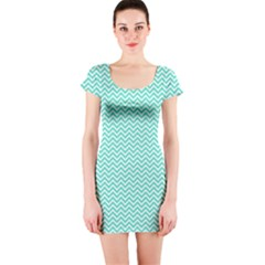 Tiffany Aqua And White Chevron Wavy Zigzag Stripes Short Sleeve Bodycon Dresses