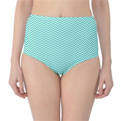 Tiffany Aqua And White Chevron Wavy Zigzag Stripes High Waist Bikini Bottoms