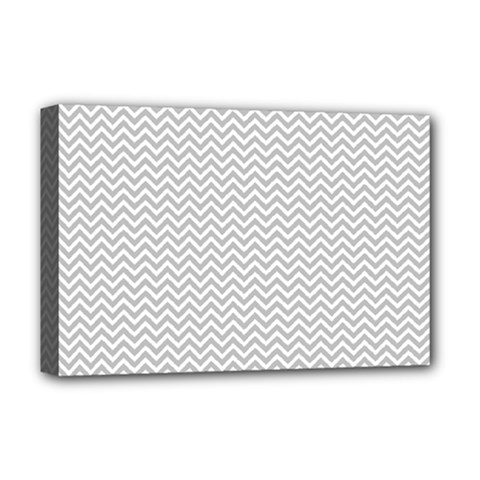 Silver And White Chevrons Wavy Zigzag Stripes Deluxe Canvas 18  X 12   by PaperandFrill