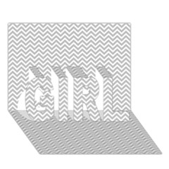 Silver And White Chevrons Wavy Zigzag Stripes Girl 3d Greeting Card (7x5)  by PaperandFrill