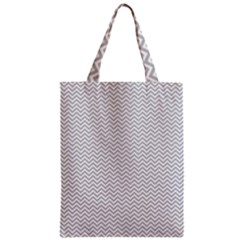 Silver And White Chevrons Wavy Zigzag Stripes Classic Tote Bags by PaperandFrill