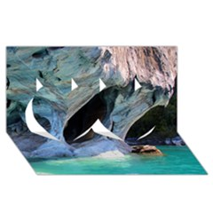 Marble Caves 2 Twin Hearts 3d Greeting Card (8x4)