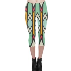 Rhombus And Arrows Pattern Capri Leggings by LalyLauraFLM