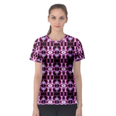 Purple White Flower Abstract Pattern Women s Sport Mesh Tees by Costasonlineshop