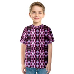 Purple White Flower Abstract Pattern Kid s Sport Mesh Tees by Costasonlineshop