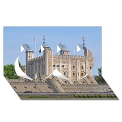 Tower Of London 2 Twin Hearts 3d Greeting Card (8x4)  by trendistuff