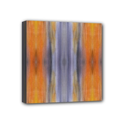 Gray Orange Stripes Painting Mini Canvas 4  X 4  by Costasonlineshop