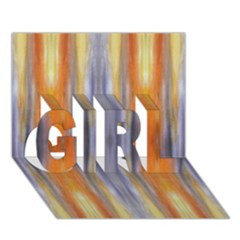 Gray Orange Stripes Painting Girl 3d Greeting Card (7x5)  by Costasonlineshop