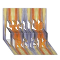 Gray Orange Stripes Painting You Rock 3d Greeting Card (7x5)  by Costasonlineshop