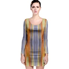 Gray Orange Stripes Painting Long Sleeve Bodycon Dresses