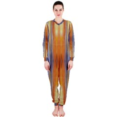 Gray Orange Stripes Painting Onepiece Jumpsuit (ladies)  by Costasonlineshop
