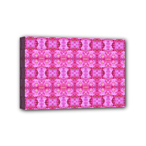 Pretty Pink Flower Pattern Mini Canvas 6  x 4