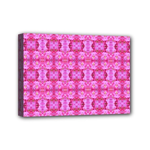 Pretty Pink Flower Pattern Mini Canvas 7  x 5
