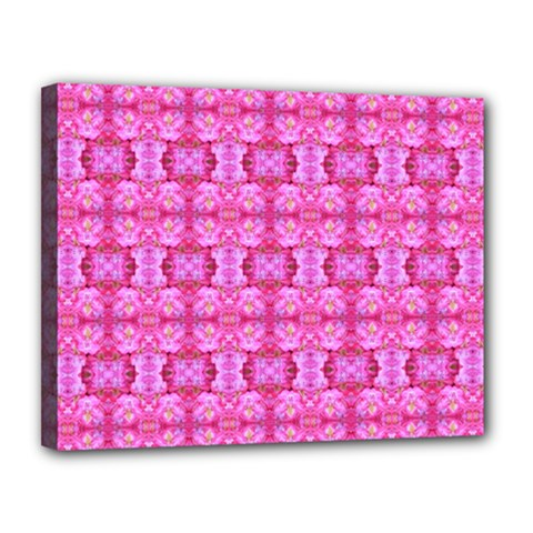 Pretty Pink Flower Pattern Canvas 14  x 11