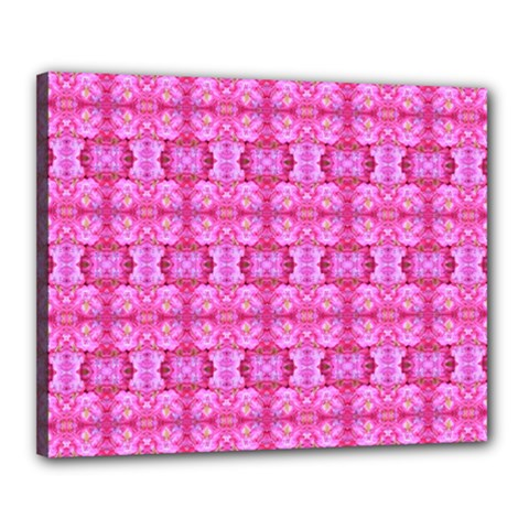 Pretty Pink Flower Pattern Canvas 20  x 16