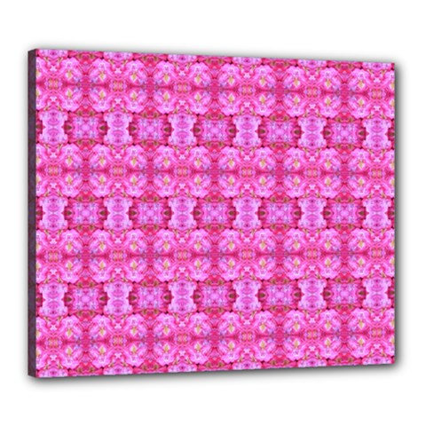 Pretty Pink Flower Pattern Canvas 24  x 20