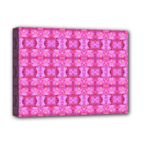 Pretty Pink Flower Pattern Deluxe Canvas 16  x 12