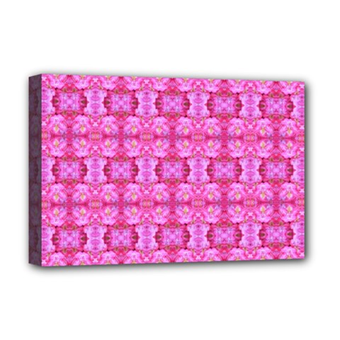 Pretty Pink Flower Pattern Deluxe Canvas 18  x 12