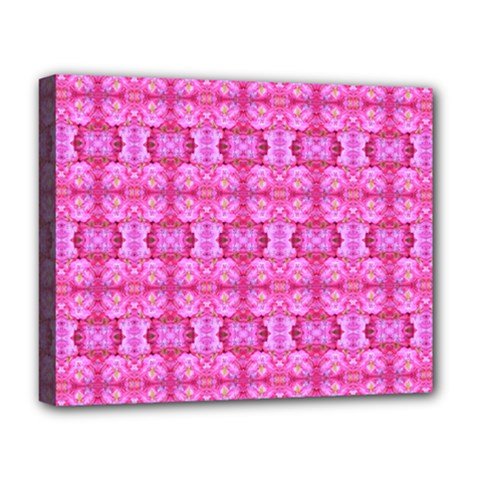 Pretty Pink Flower Pattern Deluxe Canvas 20  x 16