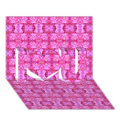 Pretty Pink Flower Pattern I Love You 3D Greeting Card (7x5)