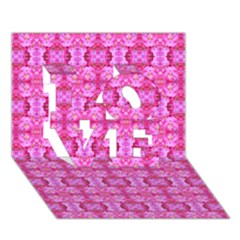 Pretty Pink Flower Pattern LOVE 3D Greeting Card (7x5)
