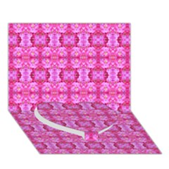 Pretty Pink Flower Pattern Heart Bottom 3D Greeting Card (7x5)