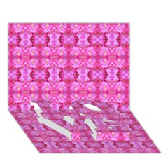 Pretty Pink Flower Pattern LOVE Bottom 3D Greeting Card (7x5)