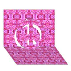 Pretty Pink Flower Pattern Peace Sign 3D Greeting Card (7x5)