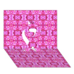 Pretty Pink Flower Pattern Ribbon 3D Greeting Card (7x5)