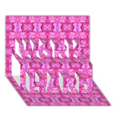 Pretty Pink Flower Pattern WORK HARD 3D Greeting Card (7x5)