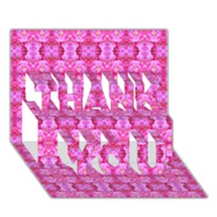 Pretty Pink Flower Pattern THANK YOU 3D Greeting Card (7x5)