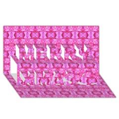Pretty Pink Flower Pattern Merry Xmas 3D Greeting Card (8x4)