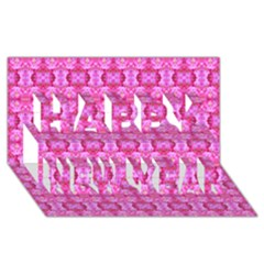 Pretty Pink Flower Pattern Happy New Year 3D Greeting Card (8x4)